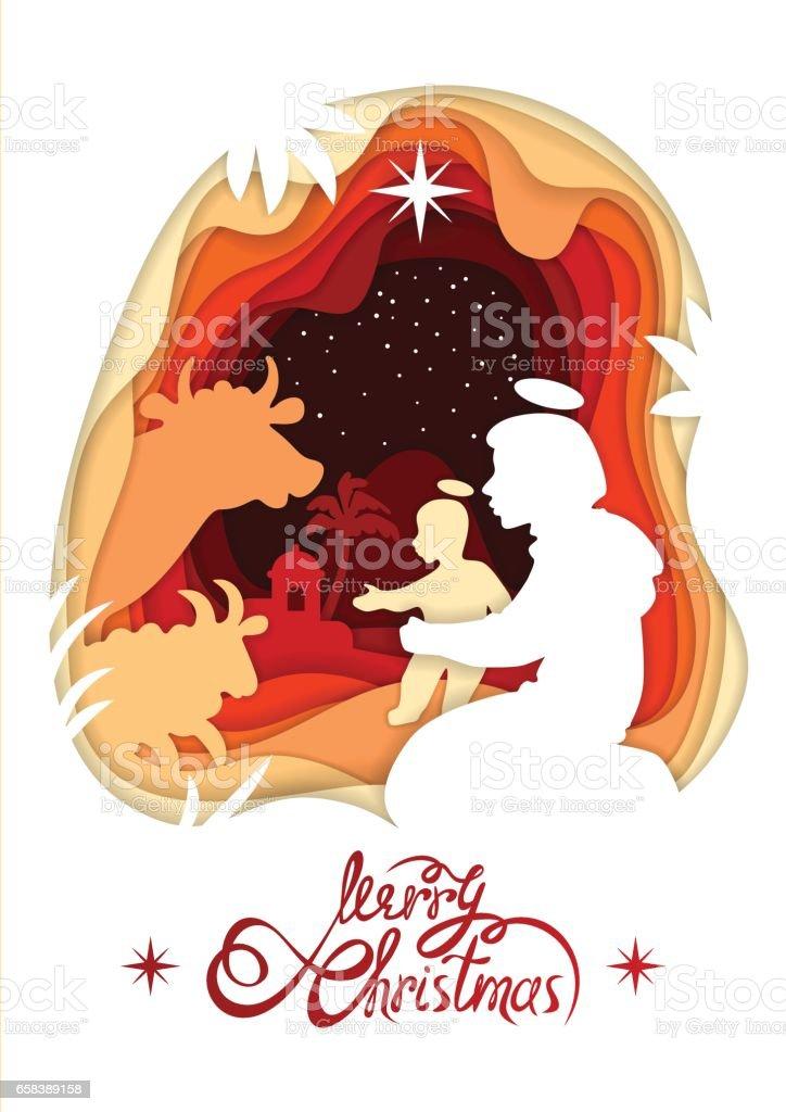 Frohe Weihnachten Jesus.Silhouette Der Madonna Santa Maria Und Baby Jesus Christus