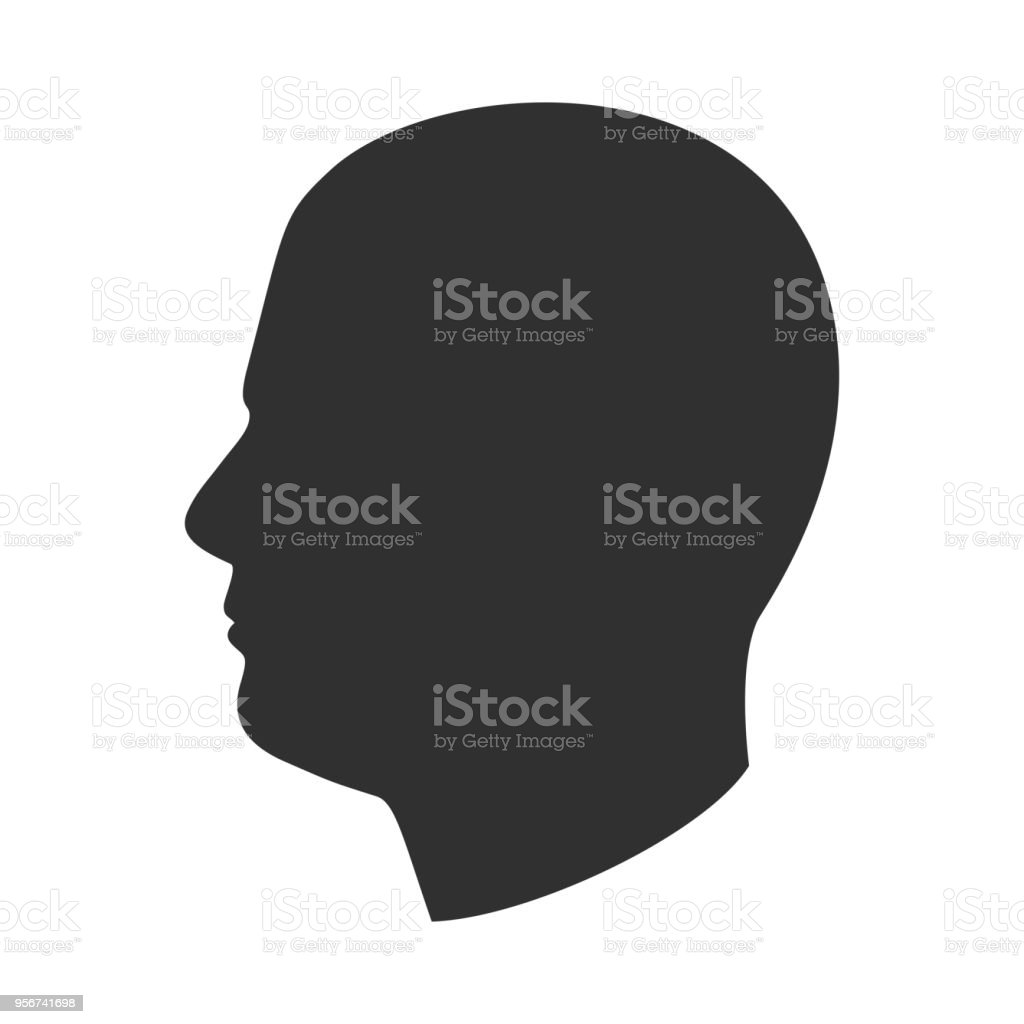 silhouette of male head man face in profile side view stock vector