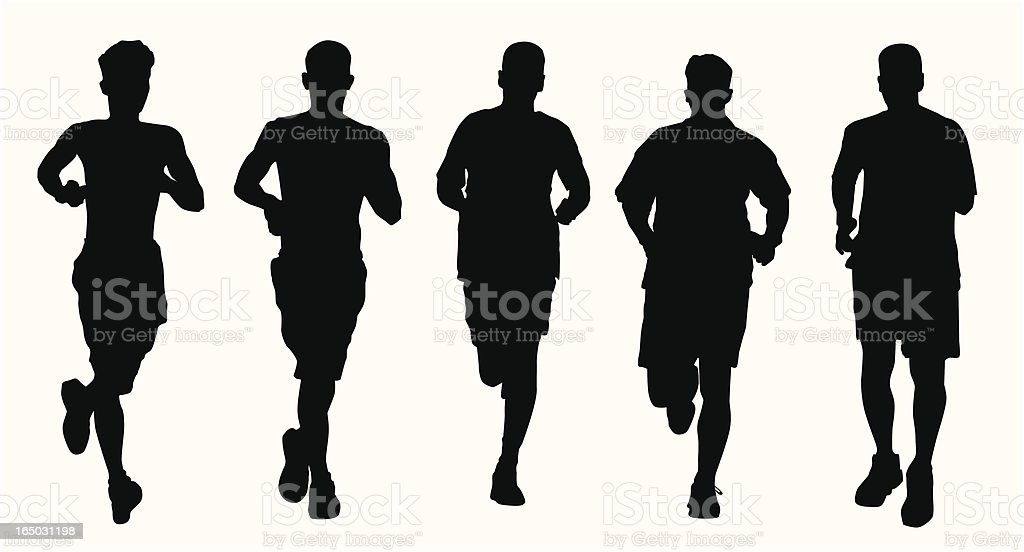 Silhouette of male jogging team royalty-free silhouette of male jogging team stock vector art & more images of activity