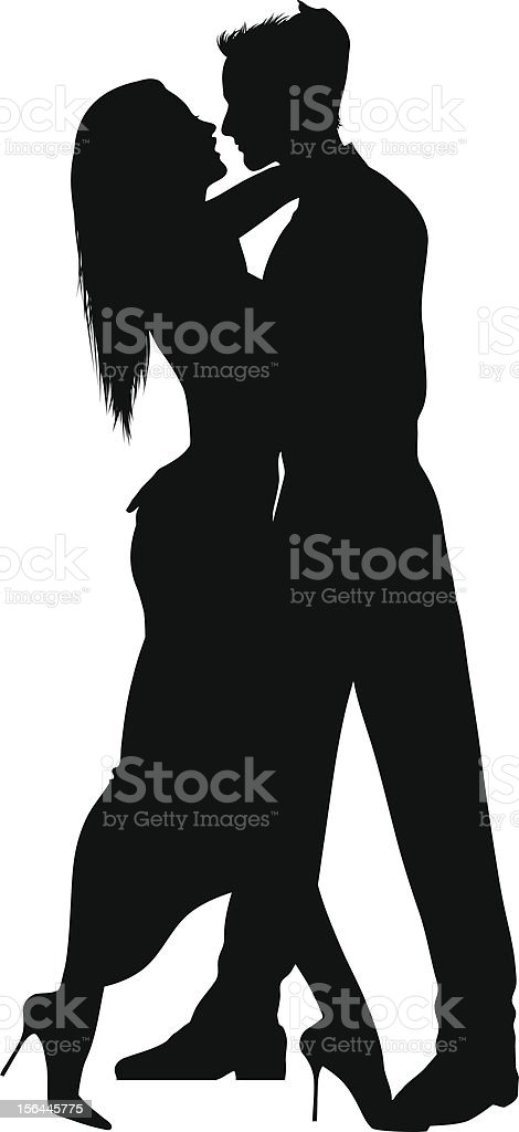 Silhouette of man and woman dancing intimately in formal vector art illustration