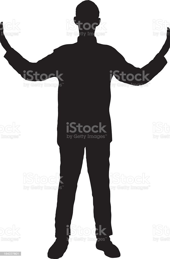 Silhouette of man between two things royalty-free stock vector art