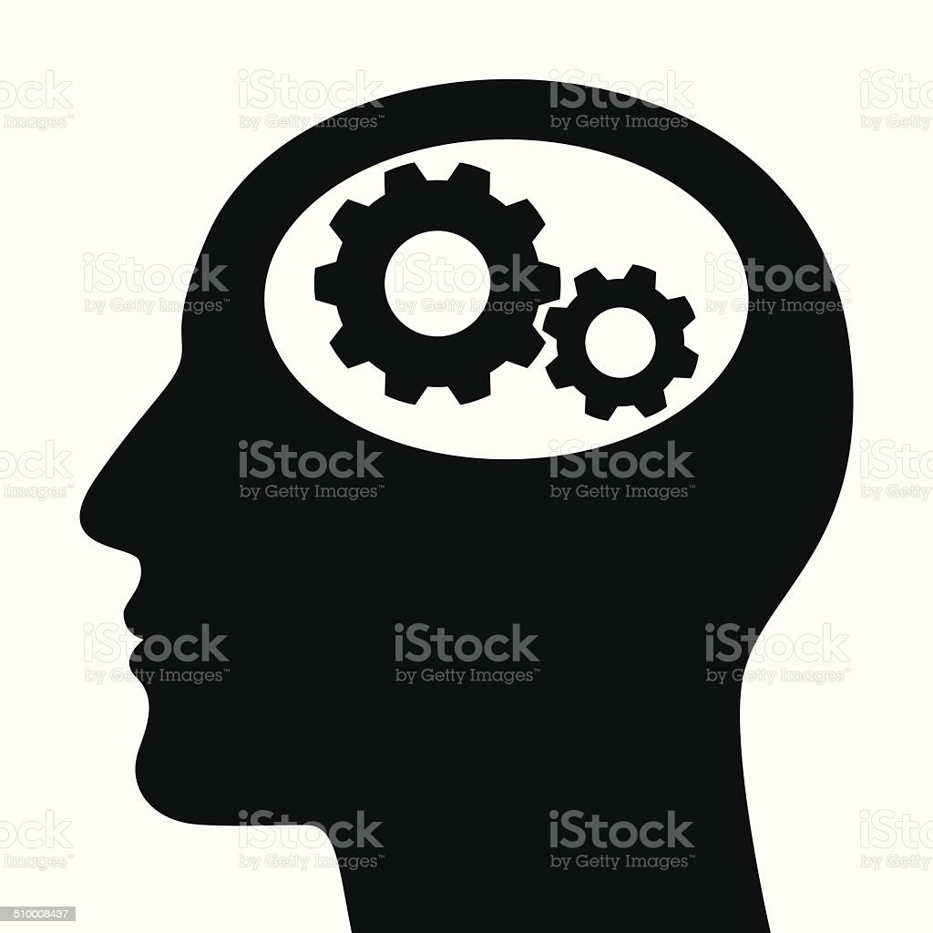silhouette of man head with gears stock vector art amp more