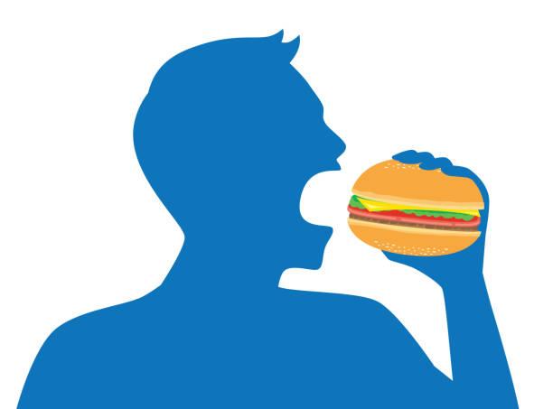 ilustrações de stock, clip art, desenhos animados e ícones de silhouette of man open his mouth for eating a hamburger. - eating