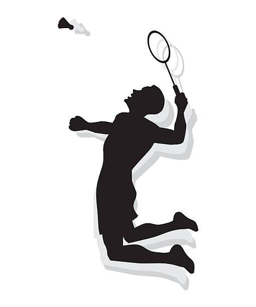 silhouette of man playing badminton - badminton smash stock illustrations