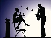 Silhouette of man plays saxophone to his lover