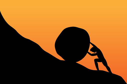 Silhouette of man push stone up to peak hill. Work hard and succeed concept. Vector illustration design.