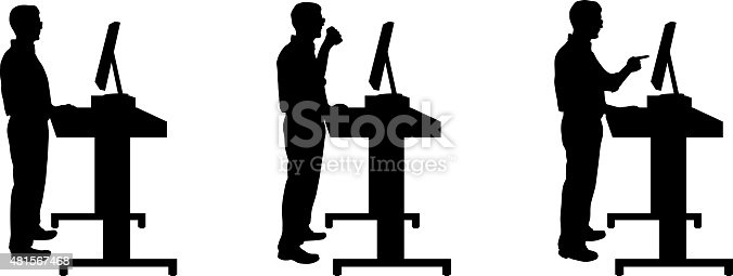 Silhouette Of Man Standing At Stand Up Desk stock vector