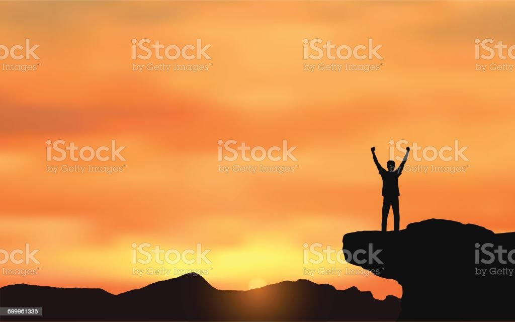 Silhouette of man standing on Mountain cliff looking at sunset sky background vector art illustration