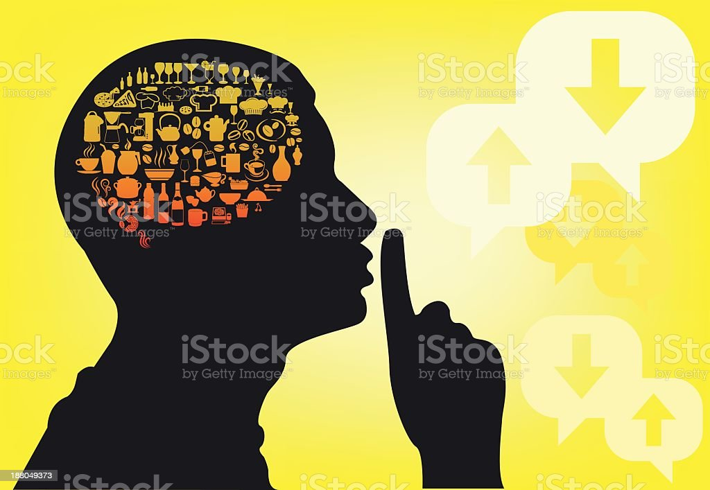 Silhouette of man with foods and drinks in the brain vector art illustration