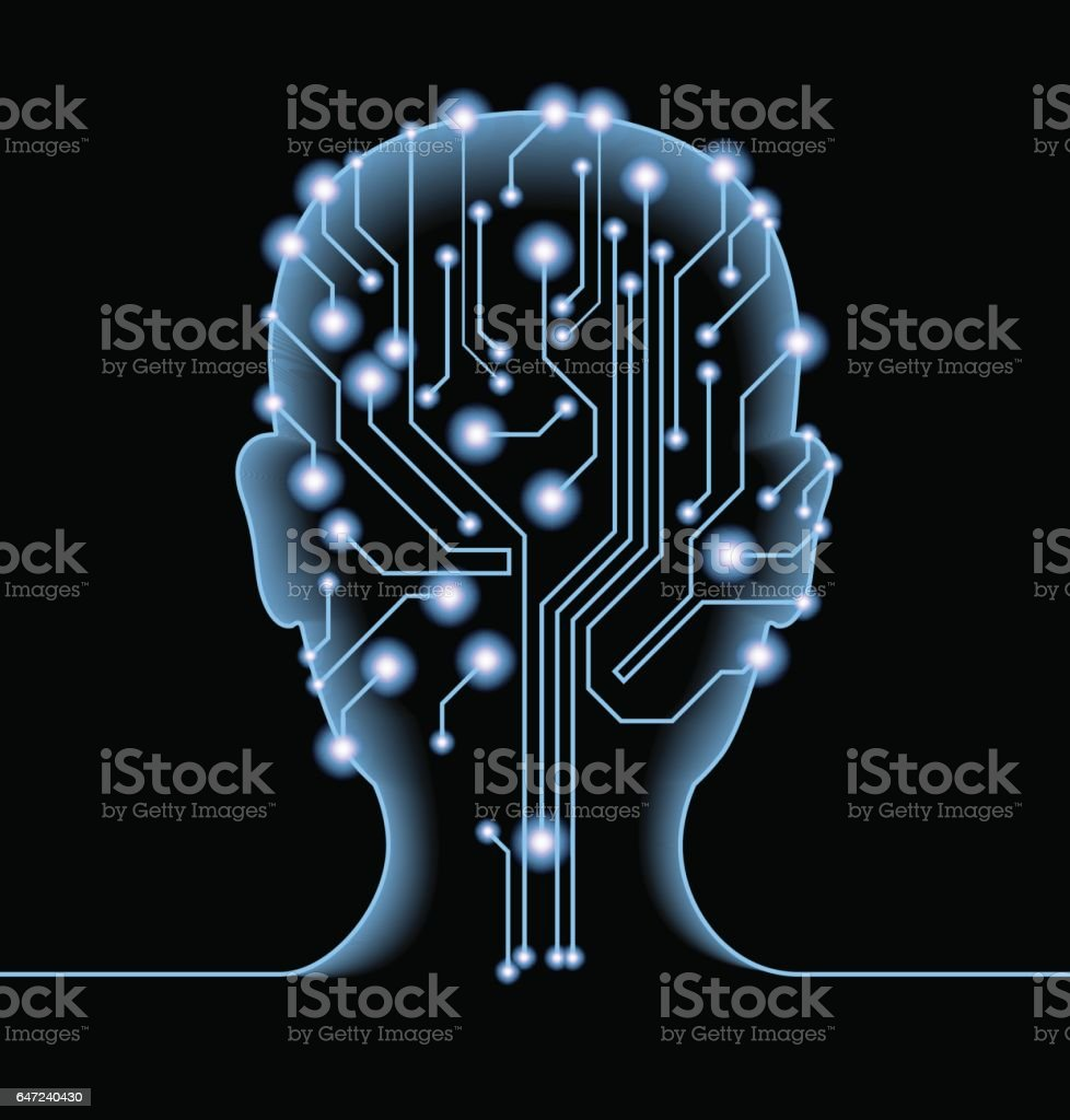 Silhouette of man's head with the motherboard and gears. vector art illustration