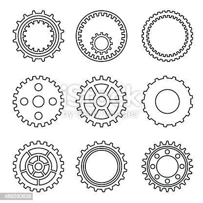 Silhouette Of Mechanical Cogs And Gear Wheel Set Stock