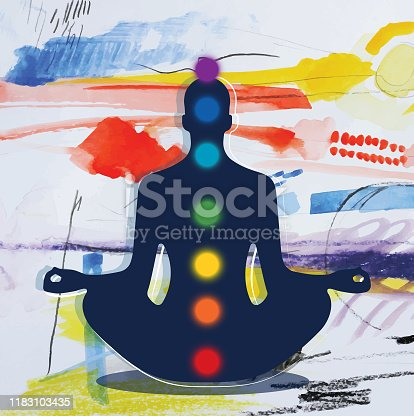 Silhouette Of Meditating Man Lotus Pose And Chakras Placed On Abstract Background
