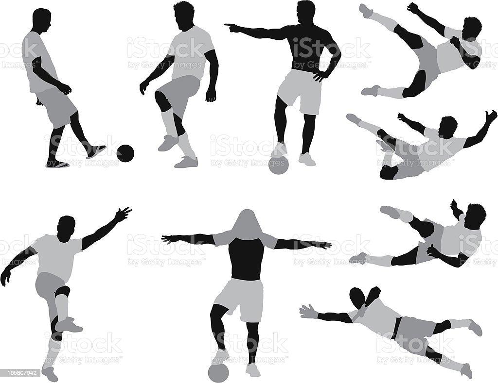 Silhouette of men playing football royalty-free stock vector art