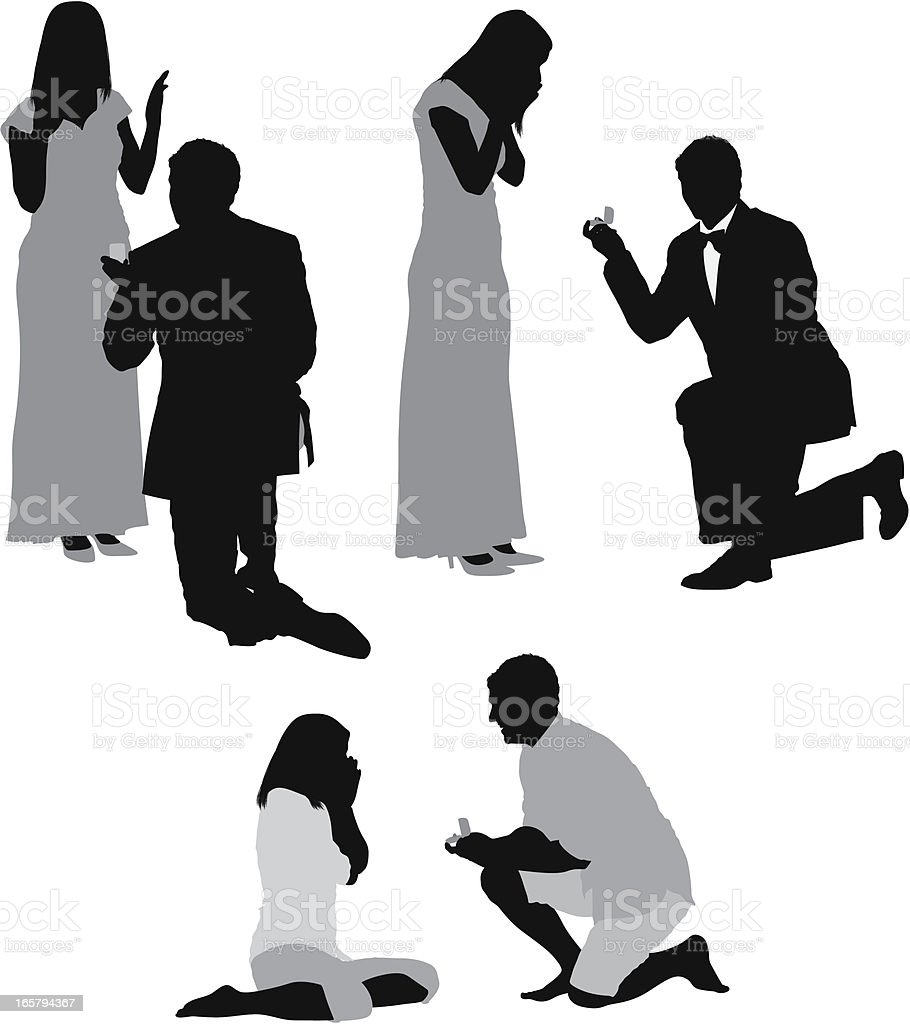 Silhouette of men proposing his girlfriends vector art illustration