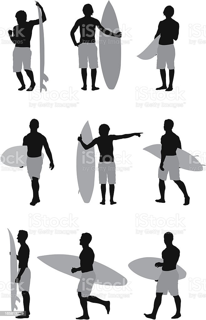 Silhouette of men with surfboards royalty-free silhouette of men with surfboards stock vector art & more images of activity