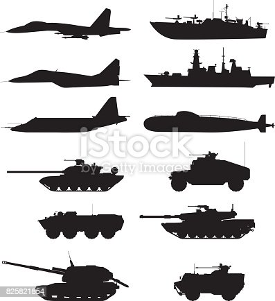 Silhouette of military machines support. Aircraft forces. Army vehicles and warships. Military aircraft and warship, vector illustration