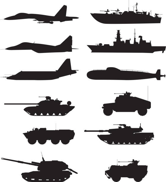 Silhouette of military machines support. Aircraft forces. Army vehicles and warships vector art illustration