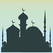 Silhouette of mosque and moon. Stock vector illustration.