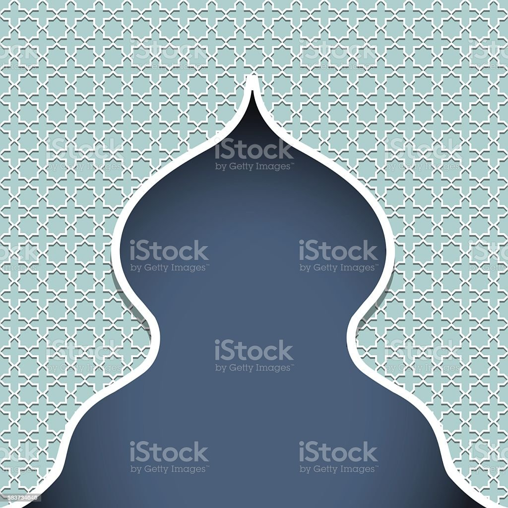 Silhouette of mosque vector art illustration