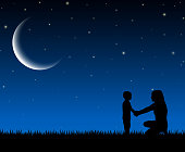 Silhouette of mother and child on the night background