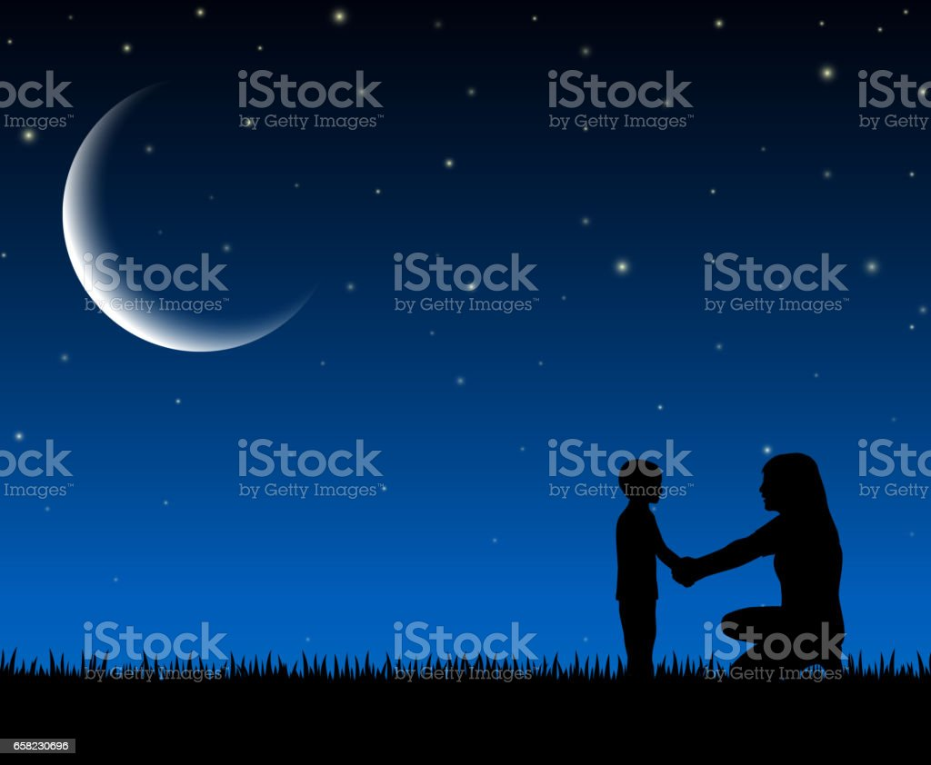 Silhouette of mother and child on the night background vector art illustration