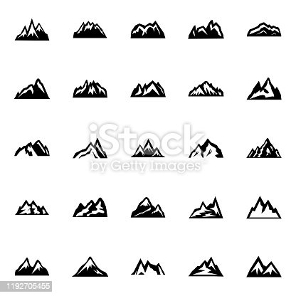 Silhouette of mountain in flat style. Vector icon set.