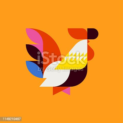 Silhouette of multicolor patterned rooster. Modern flat vector logo mark template or icon of cock