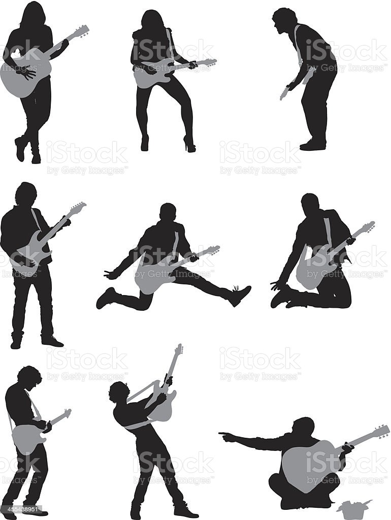 Silhouette of musicians playing guitar vector art illustration