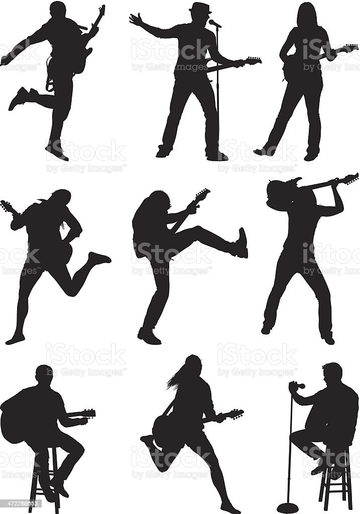 Silhouette of musicians vector art illustration