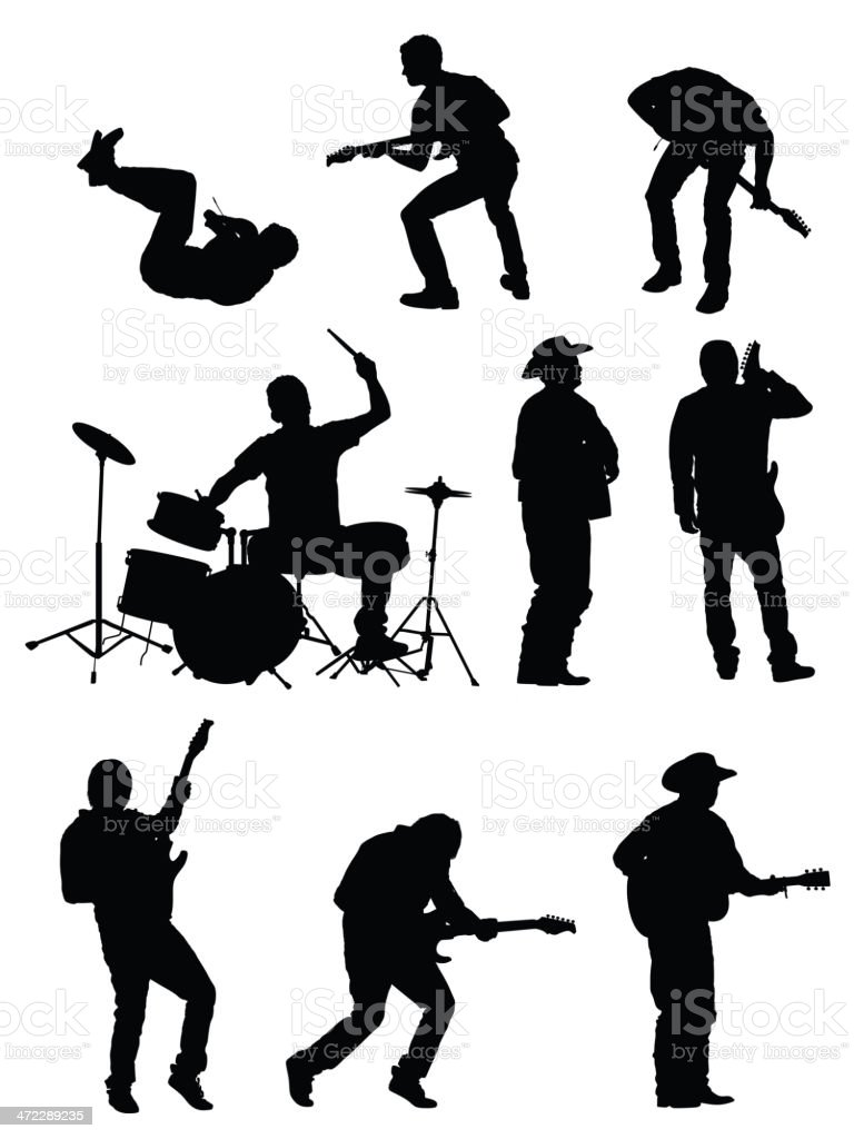 silhouette of musicians stock vector art more images of acoustic