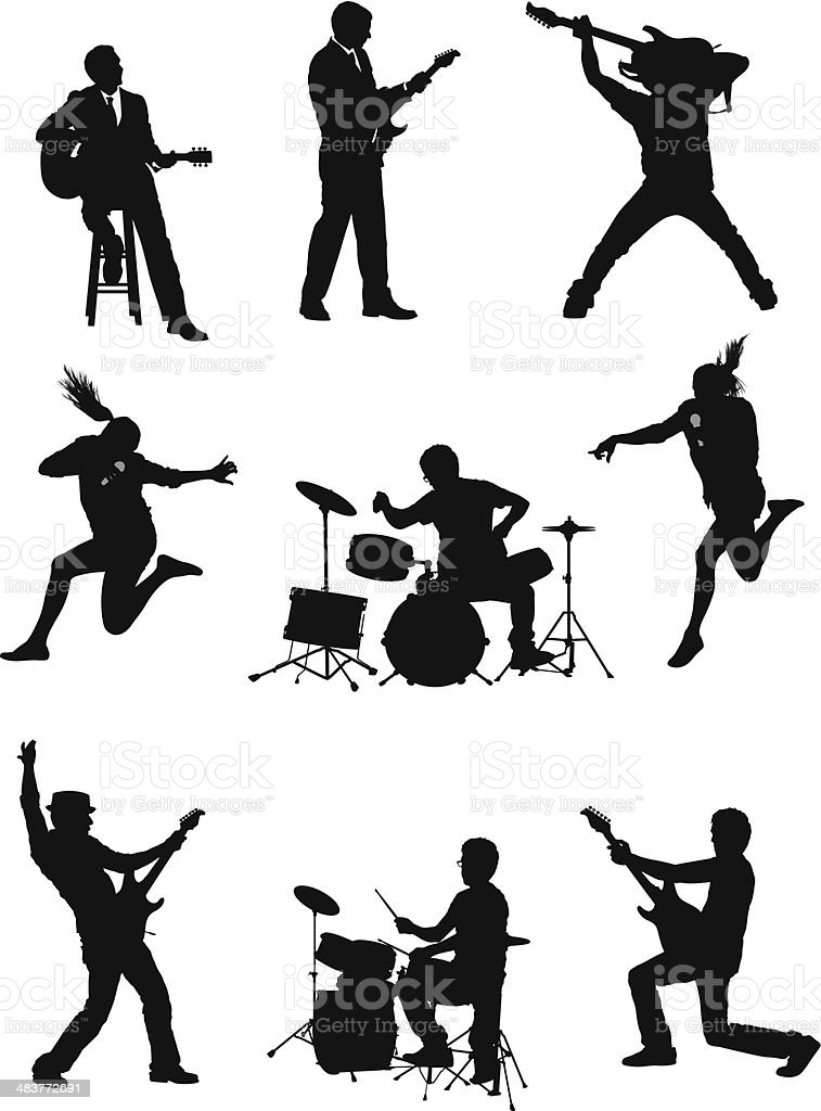 Silhouette of musicians vector art illustration