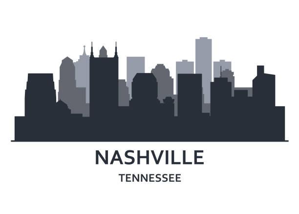 silhouette of nashville city, tennessee -   cityscape of nashville, skyline of downtown - горизонт stock illustrations