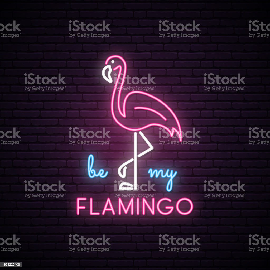 Silhouette of neon pink flamingo with the inscription: be my Flamingo. Neon bright sign. Vector illustration. vector art illustration