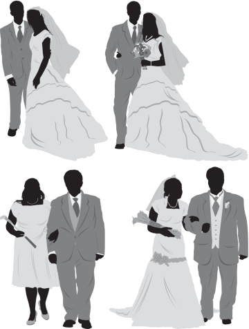 Silhouette of newlywed couples