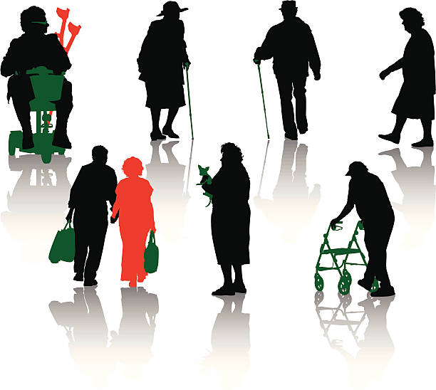 silhouette of old and disabled people. - old man goes pictures stock illustrations, clip art, cartoons, & icons