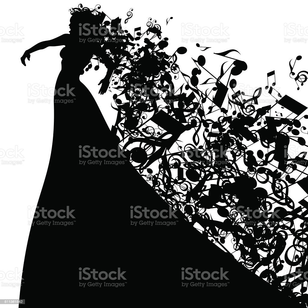 Silhouette of Opera Singer and Musical Symbols vector art illustration