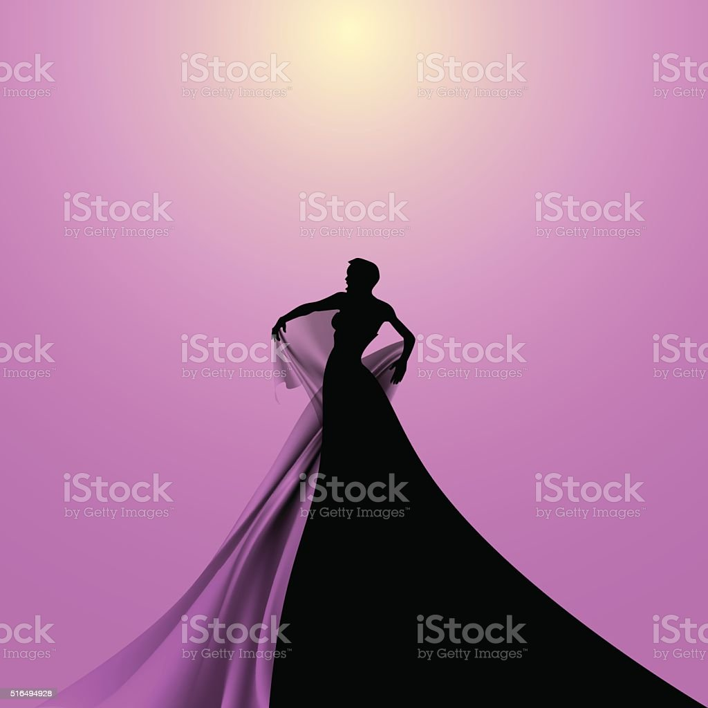 Silhouette of Opera Singer vector art illustration