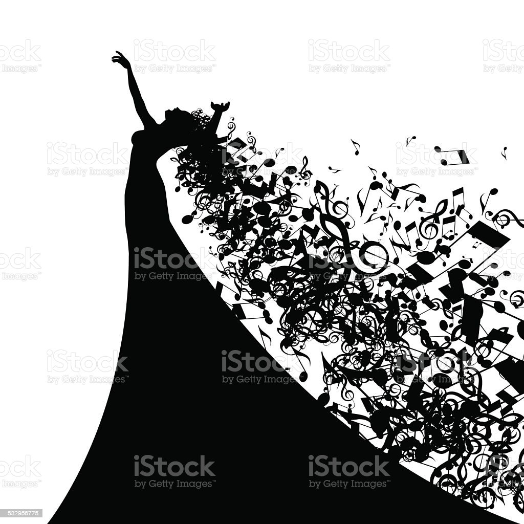 Silhouette of Opera Singer with Long Hair Like Musical Notes. vector art illustration