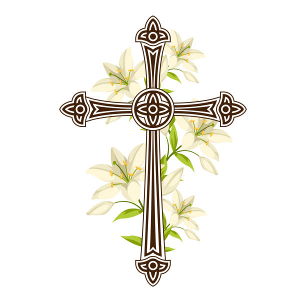 Silhouette of ornate cross with lilies. Happy Easter concept illustration or greeting card. Religious symbols of faith Silhouette of ornate cross with lilies. Happy Easter concept illustration or greeting card. Religious symbols of faith. lily stock illustrations