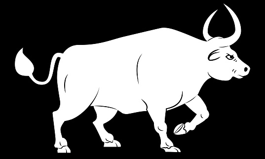 Silhouette of ox. Stylized contour of standing bull in profile. Isolated on black background. Bull logo design.