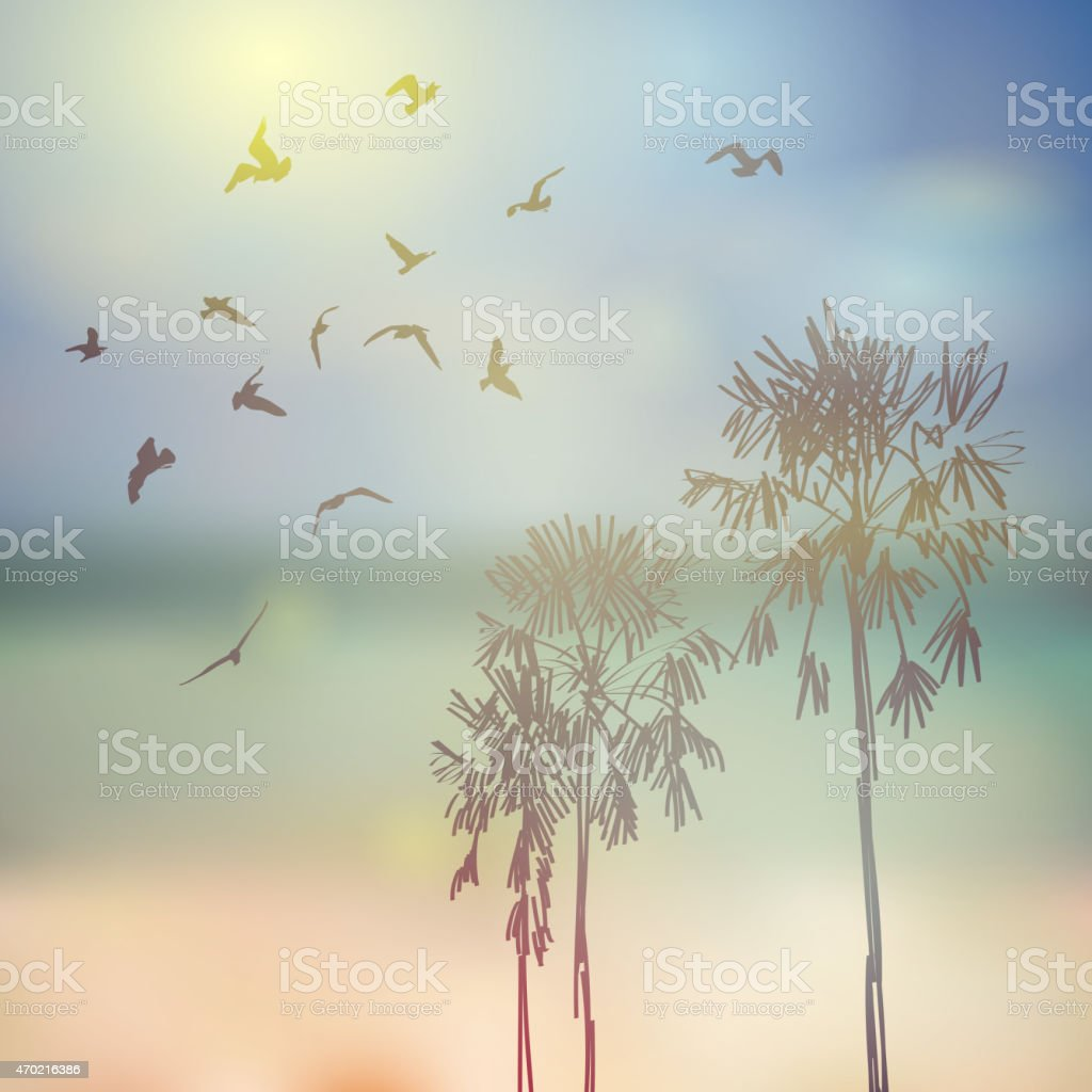 Silhouette of palm trees birds, beach, sky sea blue background. vector art illustration