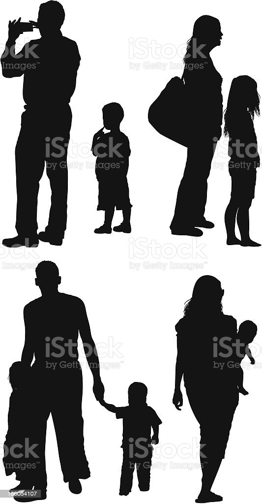 Silhouette of parent with their children vector art illustration
