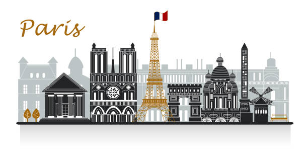 silhouette of paris silhouette of paris on the white background seine river stock illustrations