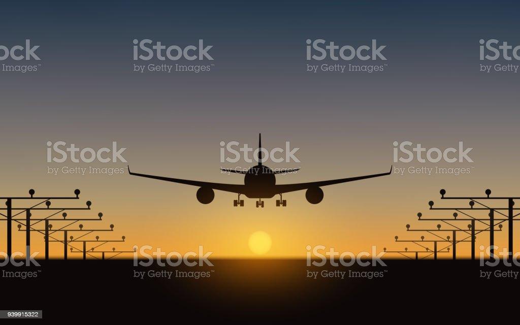 silhouette of Passenger airplane landing on runway and sunset sky background vector art illustration