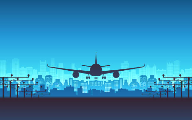 silhouette of Passenger airplane landing with city skyline in blue color background silhouette of Passenger airplane landing with city skyline in blue color background airport backgrounds stock illustrations