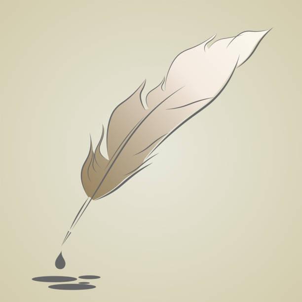 ilustrações de stock, clip art, desenhos animados e ícones de silhouette of pen with a pen of beige hue with blots of ink. - tinteiro
