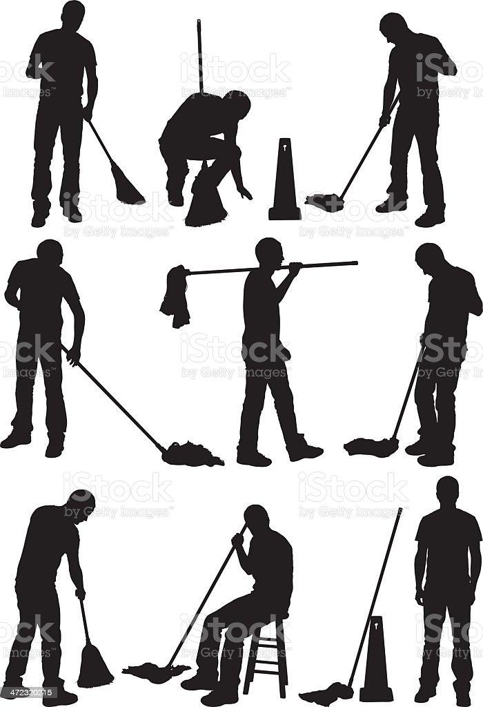 Silhouette von Menschen, die Reinigung der Etage – Vektorgrafik