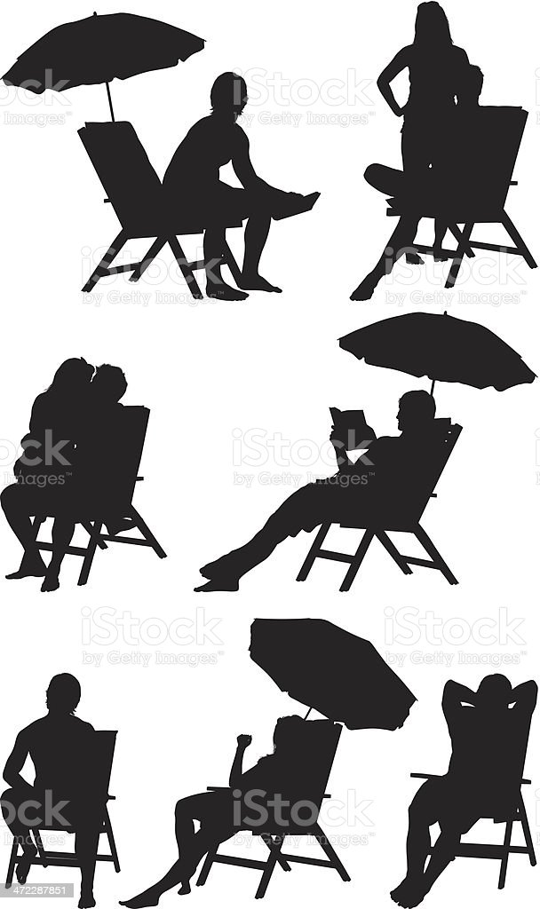 ... Silhouette Of People Deck Chairs Vector Art Illustration ...