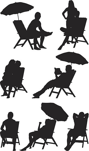 Silhouette of people deck chairs vector art illustration