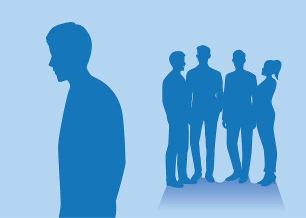 Silhouette of people group standing back side of another guy which stay alone. Silhouette of people group standing back side of another guy which stay alone. Illustration about relation with friends. loneliness stock illustrations